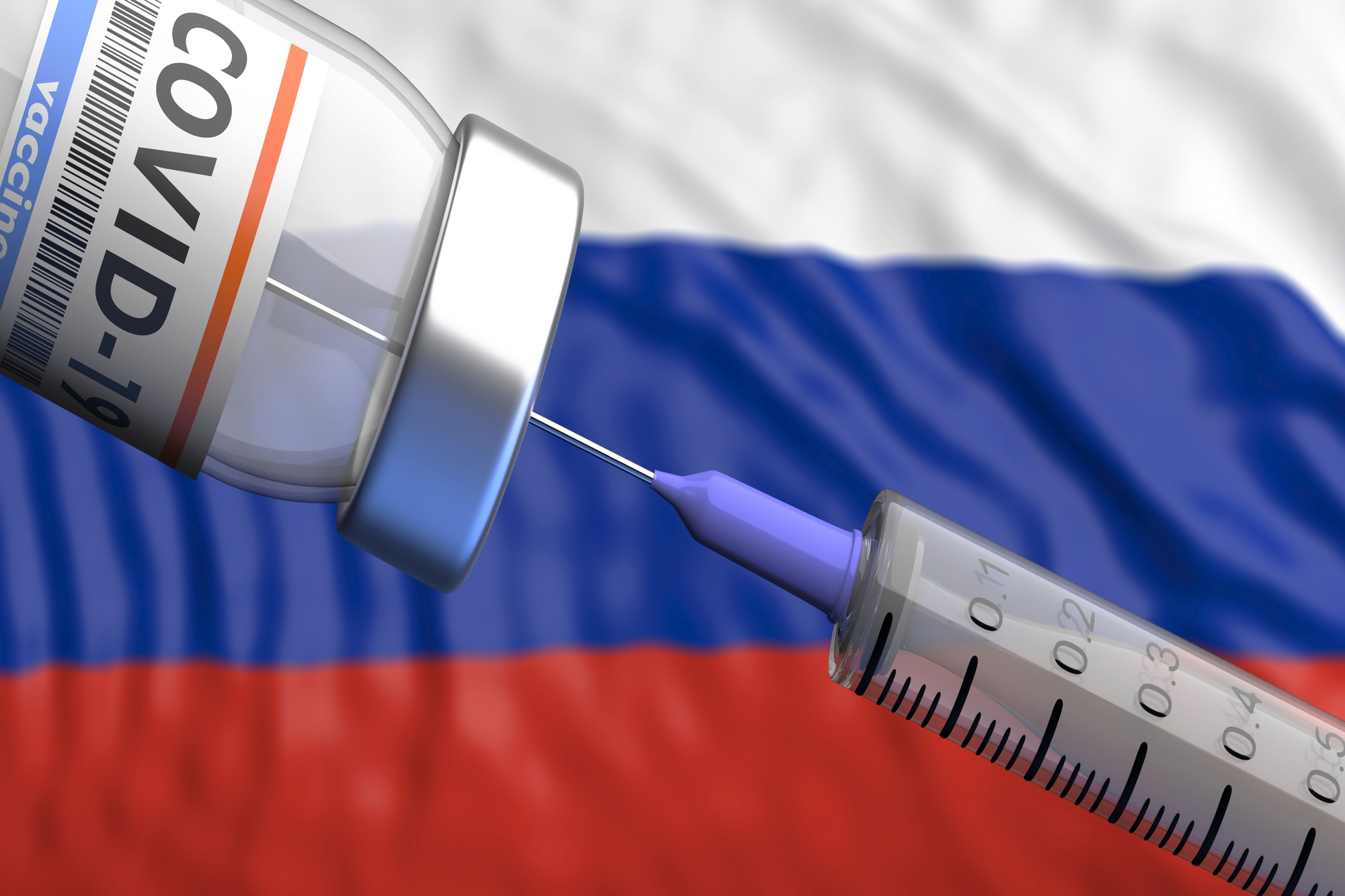 Sputnik V, Russian Coronavirus vaccine with Russian flag in the background