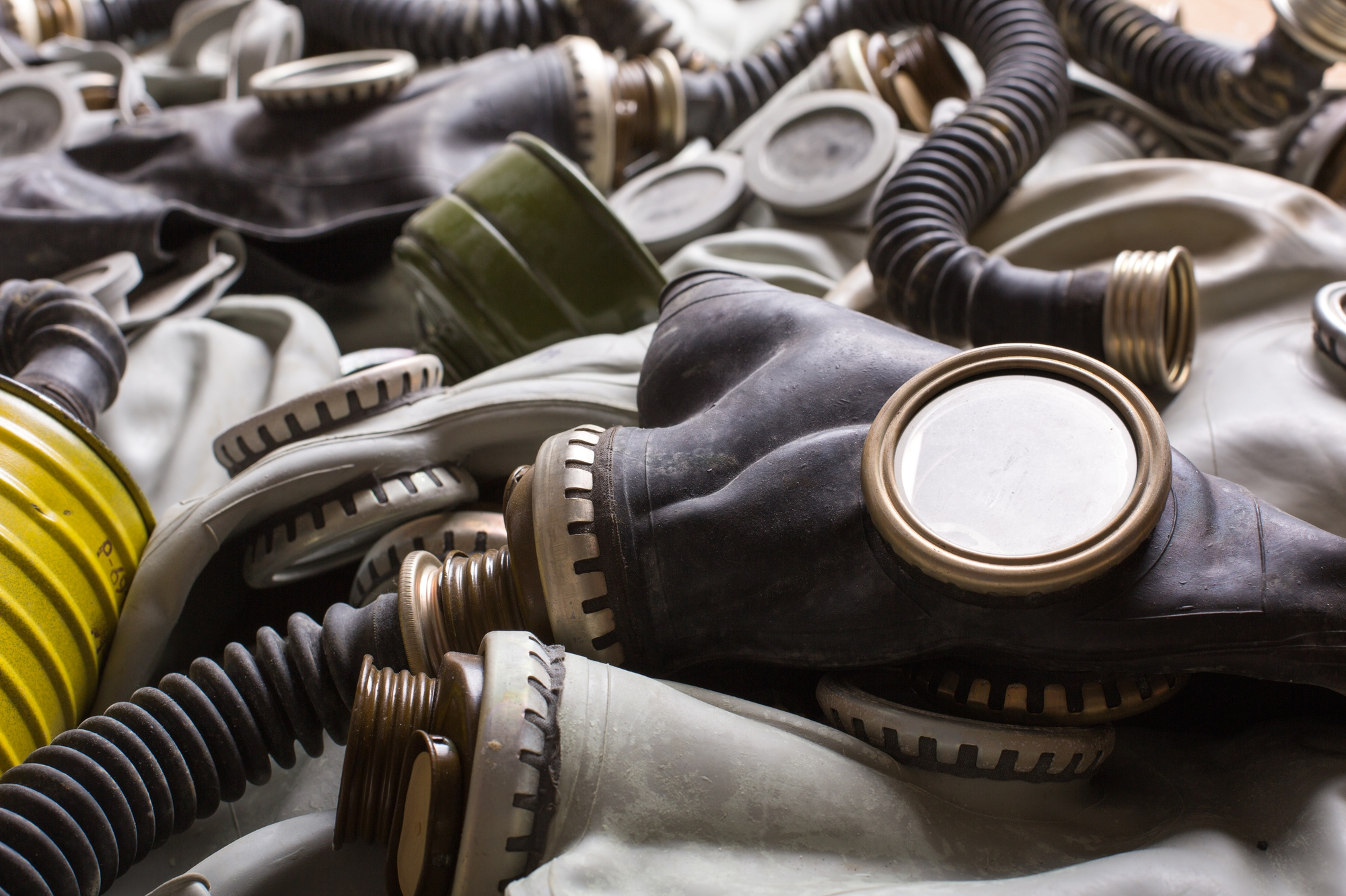 Closeup of old dirty gas masks